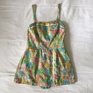 Vintage 1950s Floral One Piece Swimsuit with Skirt